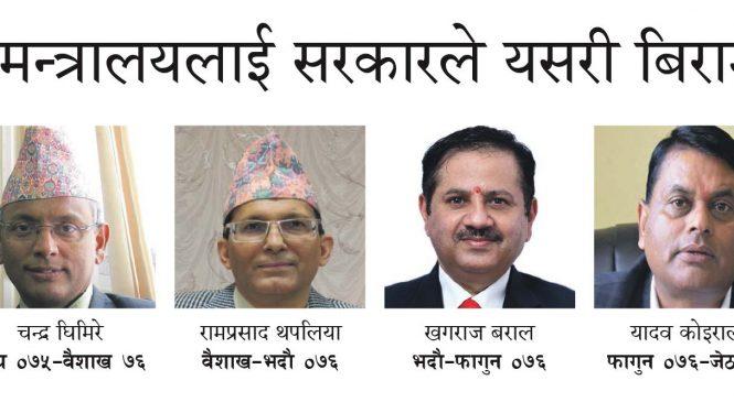 प्रशासन झन् भद्रगोल : स्वास्थ्य मन्त्रालयमा दुई वर्षमा गैरस्वास्थ्य क्षेत्रका ६ सचिव